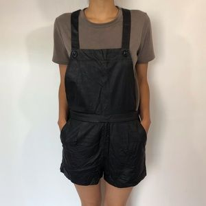 Faux leather short overalls